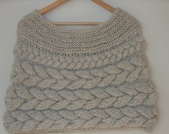 Cable Knitted Shawl Capelet Wedding Shrug Poncho Neck Warmer  Beige Nude