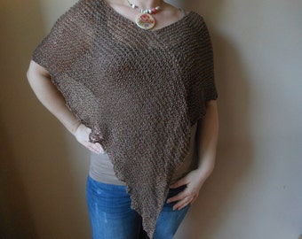 Hand Knitted Poncho Shawl Capelet Shrug Brown Cotton Loose Knit Summer Poncho