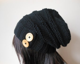 Hand Knit Cable Slouchy Beanie Hat Acrylic Black  Color with Buttons