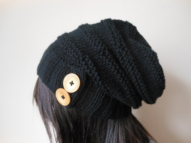 Hand Knit Cable Slouchy Beanie Hat Acrylic Black  Color with image 1