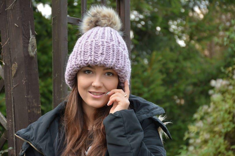 ac9c9d65da901 Hand Knit Hat with Faux Fur Pom Pom Alpaca Wool Hat Chunky