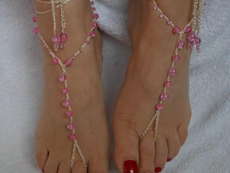 Crochet Barefoot Sandals Beach Wedding  Yoga Shoes Foot image 0
