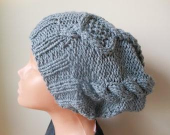 Hand Knit Slouchy Beanie Hat Acrylic Grey