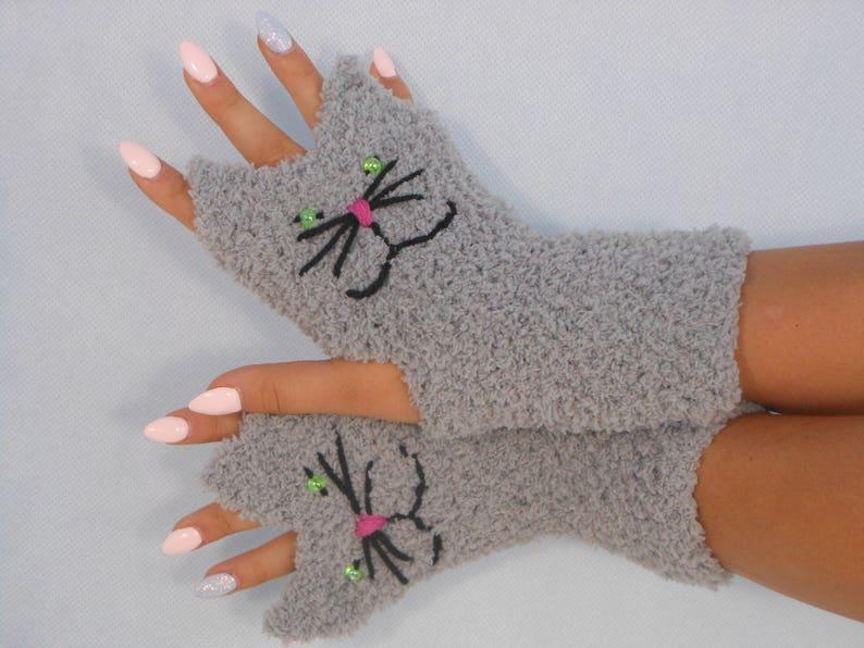 Crocheted Fingerless Mittens  Gloves Grey Cats Handmade Gloves image 0