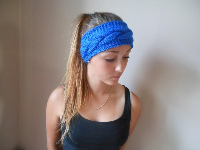 Knit Cable Headband  Ear Warmer Head Warmer Cobalt Choose image 0