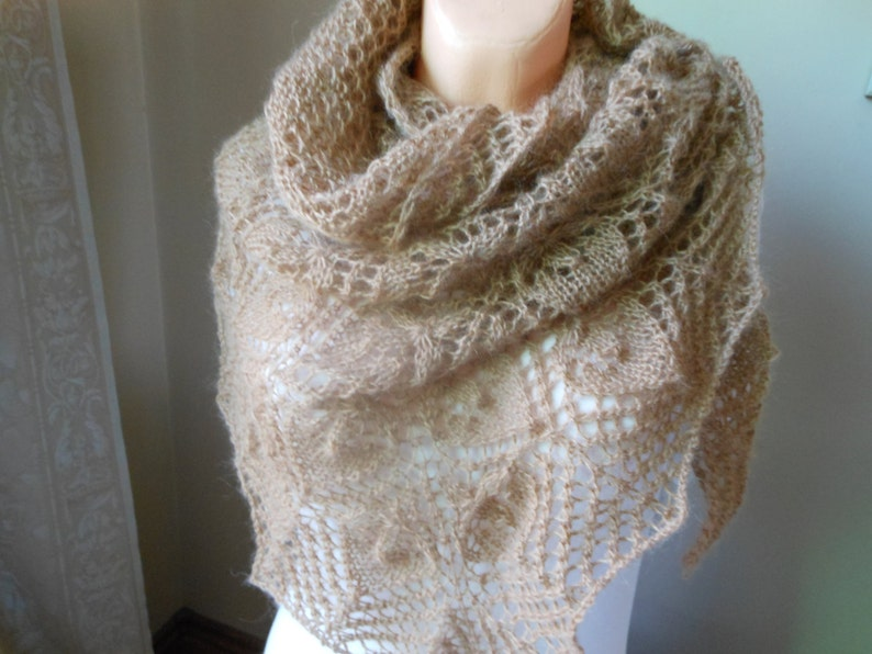 Lace shawl mohair yarn  camel beige  hand knitted image 0
