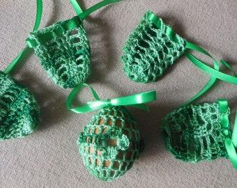Crochet Easter Egg Cover, Set of 5 Hand Crocheted Easter Eggs Easter Decoration Green