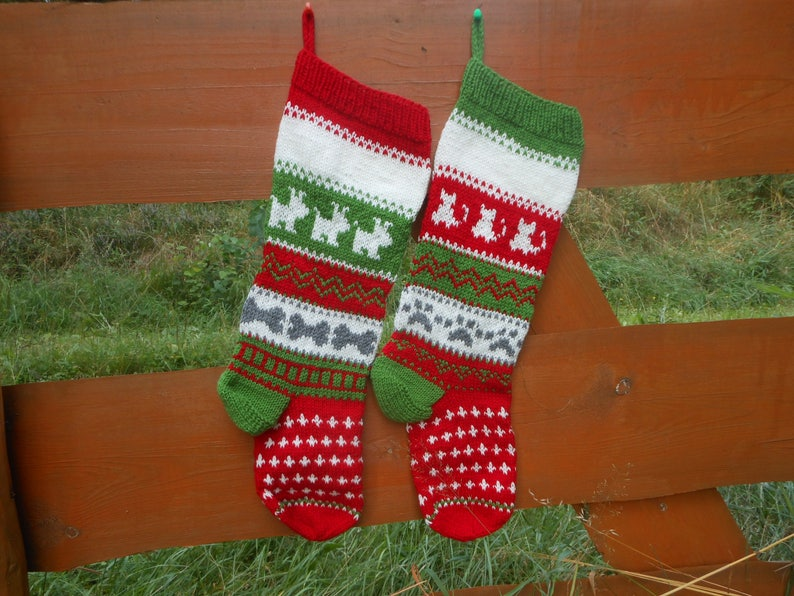 Personalized Christmas Stocking Hand Knitted With Kats Dogs image 0