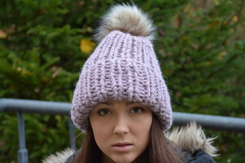 A mano a maglia cappello con cappello di inverno Faux  31a2f4637bc1