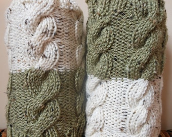 Hand Knitted Boot Cuffs Leg Warmers 2in1 Green and Oatmeal