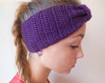 Crochet Headband  Ear Warmer Turban Head Warmer Purple