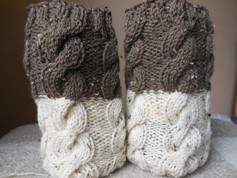 Hand Knitted Boot Cuffs Leg Warmers 2in1 Cream and Brown Tweed image 0