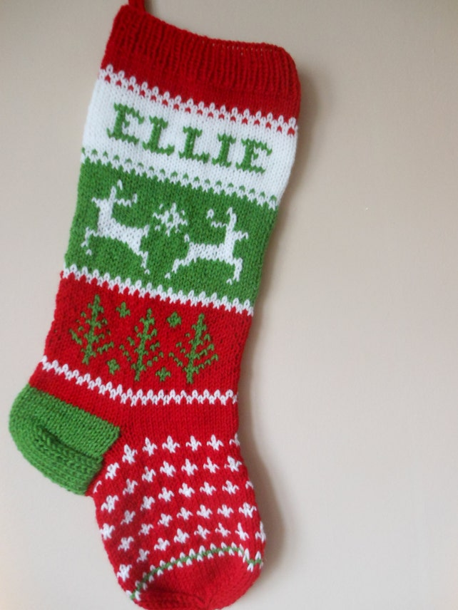 Personalized Christmas Stocking Hand Knitted With Reindeer | Etsy
