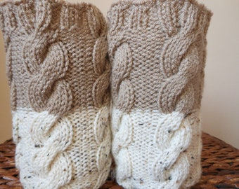 Hand Knitted Boot Cuffs Leg Warmers 2in1 Cream Tweed and Beige Cafe Latte