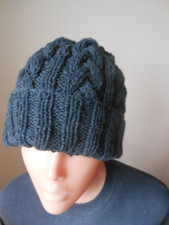 c8f87513186 Cable Knit Slouchy Beanie Hat Acrylic Dark Gray Man Woman