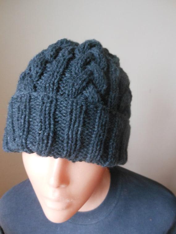 27107b6b29d Cable Knit Slouchy Beanie Hat Acrylic Dark Gray Man Woman