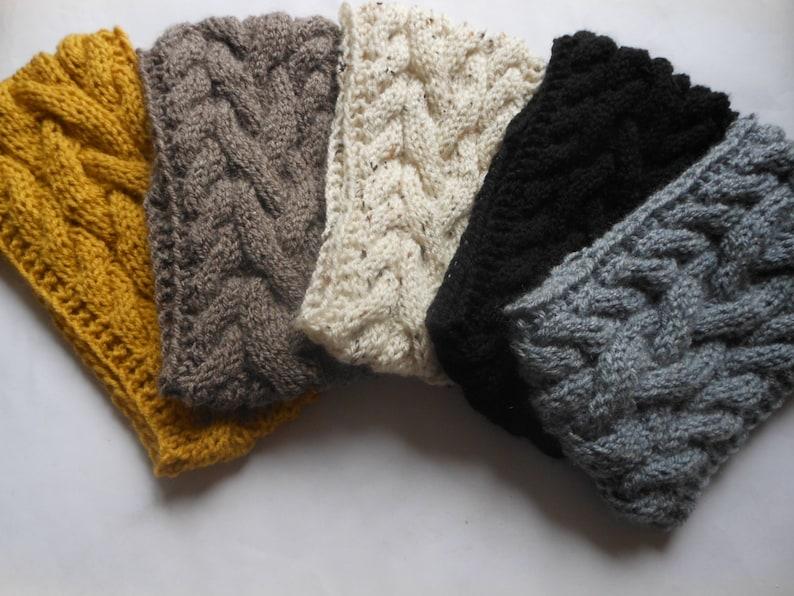 Cable Hand Knit Headband  Ear Warmer Head Warmer Choose Color image 0