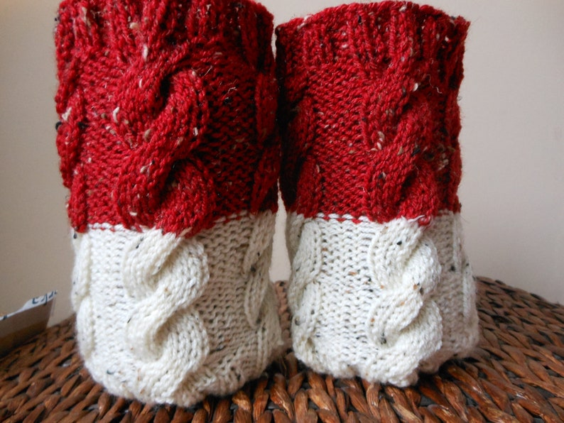 Hand Knitted Boot Cuffs Leg Warmers 2in1 Cream and Red Tweed image 0