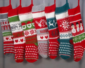 Personalized Christmas Stocking Hand Knitted  Christmas Gift Christmas Decoration