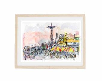 Print Grey Dog/'s West Village Watercolor Print Urban Sketch Painting