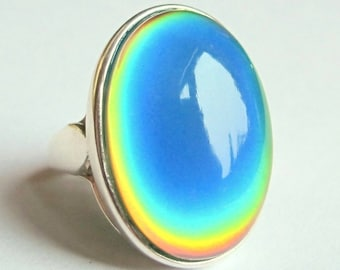 Silver Ring of Wishes - Mood Ring - 25x18 mm - Sterling Silver 925
