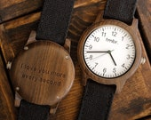 Christmas Gift For Men, Engraved Wood Watch, Personalized Wood Watch, Men's Wood Watch Customized, Canvas Strap