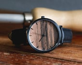 Watch Made From Wood, Wood Dial Watch, Men's Watch, Black Watch with Black Leather Strap