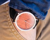 Custom Engraved  Watch, Rosewood & Brushed Silver Watch, Black Leather Strap - CSTM-HELM-RS