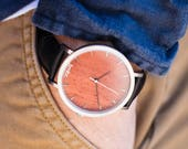 Mens Wood Watch, Rosewood & Brushed Silver Watch, Black Leather Strap - HELM-RS
