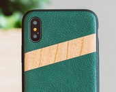 Leather Wood iPhone X Case, iPhone X Case, iPhone X Wood Case, Green Leather iPhone X Case - LTR-IPHONE-X