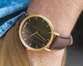 Custom Engraved Watch, Walnut Wood Gold Watch, Personalized Watch, Brown Leather Strap - CSTM-HELM-WG