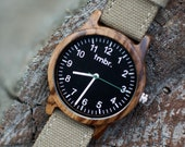 Gift For Dad | Real Wood Watch | Canvas Strap Wood Watch | Gifts For Dad - RIDGE-ZB