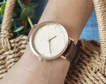 Women's Wood Watch, Cherry Wood Rose Gold Watch, Watch For Women, Brown Leather Strap - HELM-CR