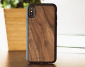 iPhone X Wood Case, Real Wood iPhone X Case, Walnut Wood iPhone X Case - SHK-W-X
