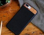 Leather iPhone 7 plus Case, iPhone 7 plus Leather Case, Wood/Leather iPhone 7 plus Case - LTR-BL-I7P