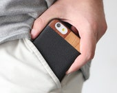 Leather iPhone 7 Case, iPhone 7 Leather Case, Wood/Leather iPhone 7 Case - LTR-BL-I7