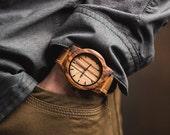 Husbands Gift Wood Watch, Minimalist Men's Zebrawood Watch, Brown Leather Strap Watch - BRLY-Z