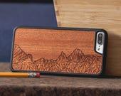 Wood Phone Case, Mountain Lines Design Engraved iPhone 7 Plus Case - SHK-C-I7P-MTLINES