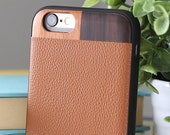iPhone 7 Wood Case, iPhone 7 Leather Case, iPhone 7 Tan Leather Case, iPhone 7 Case - LTR-TN-I7