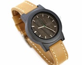Genuine Leather Mens Watch, Wood Watch For Men, Sandalwood Mens Watch - BRLY-L