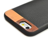 Leather iPhone 6 Plus Case, iPhone 6 Plus Leather Case, Wood/Leather iPhone 6s Plus Case - LTR-BL-I6P