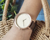 Personalized Woman's Wood Watch, Watch For Women, Cherry Wood Rose Gold Watch, Wood Watch For Women, Brown Leather Strap - HELM-CR