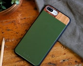 Leather Wood Cell Phone Case, Green iPhone Case, Green Leather iPhone Case, iPhone Case - LTR-GR-I7P