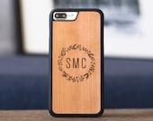 Monogram iPhone 8 Plus Case, iPhone 8 Wood Case, Wood iPhone 8 Plus Case - MONO-SHK