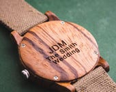 Engraved Wood Watch, Wood Watch With Engraving, Groomsmen Gift Personalized Watch, Men's Wood Watch