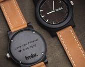 Father's Day Gift Watch, Custom Engraved Wood Watch, Personalized Wood Watch - CST-BRLY-L