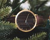 Custom Engraved Watch, Walnut Wood Gold Watch, Brown Leather Strap - CSTM-HELM-WGGM