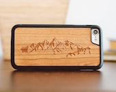 Wood iPhone 7 / 8 Case, Mountain Design Engraved iPhone 7 Case, Wooden iPhone Case - SHK-C-I7-MOUNT