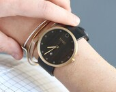 Women's Wood Watch, Walnut Wood Watch with Gold Casing and Black Leather Strap - MILL-WG