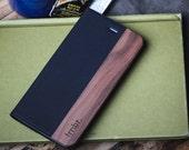 iPhone 7 Case Wallet, Wallet iPhone 7 Card Case, Walnut Wood - FOL-WB-7